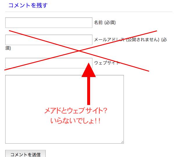 【賢威】カスタマイズコメント欄のメアドとURLを削除
